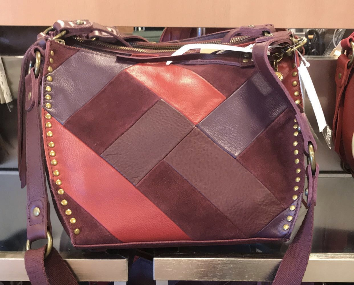bag burgundy macy's purse red bag bags and purses purse satchel bag suede patched soft leather leather bag purple