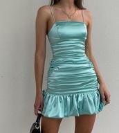 dress,light blue,blue,blue dress,scrunched dress,strappy dress,pretty