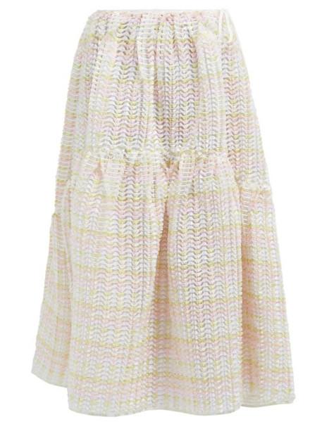 Cecilie Bahnsen - Rosemary High Rise Fil Coupé Midi Skirt - Womens - Light Pink