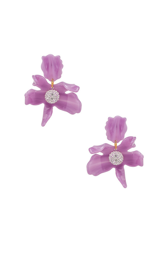 Lele Sadoughi Small Crystal Lily Earring in purple