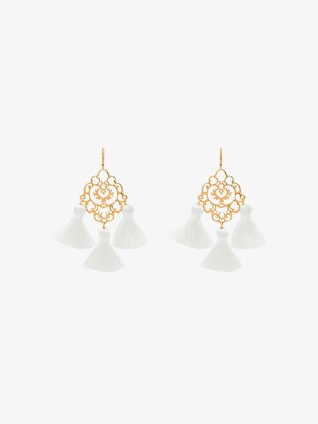 Marte Frisnes gold Rita white tassel earrings