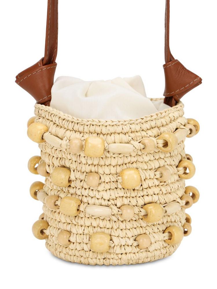 SENSI STUDIO Mini Straw Bucket Bag in natural