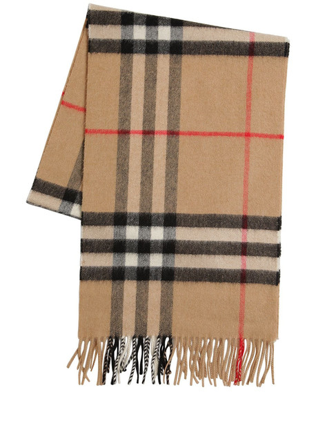 BURBERRY Classic Check Giant Icon Cashmere Scarf in beige