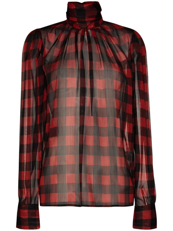 ANOUKI checked high neck blouse in red