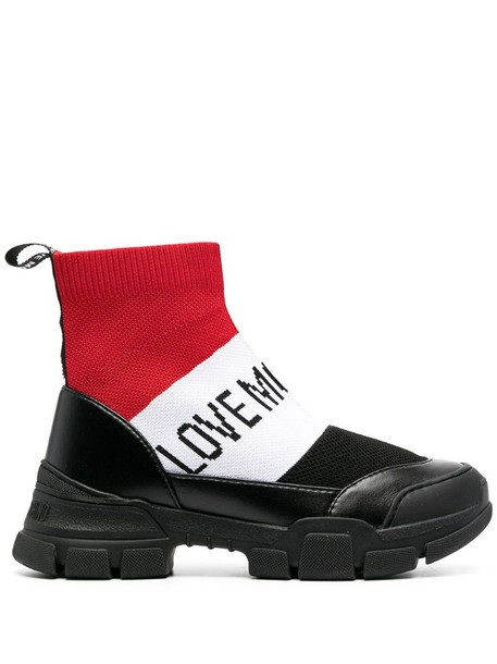 Love Moschino colour-block sock ankle boots in black