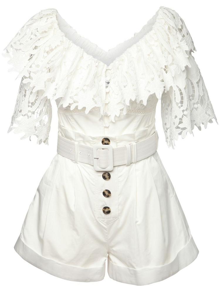 SELF-PORTRAIT Off-the-shoulder Cotton Poplin Playsuit in white