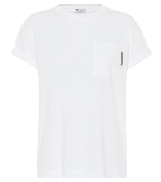 Brunello Cucinelli Stretch-cotton T-shirt in white