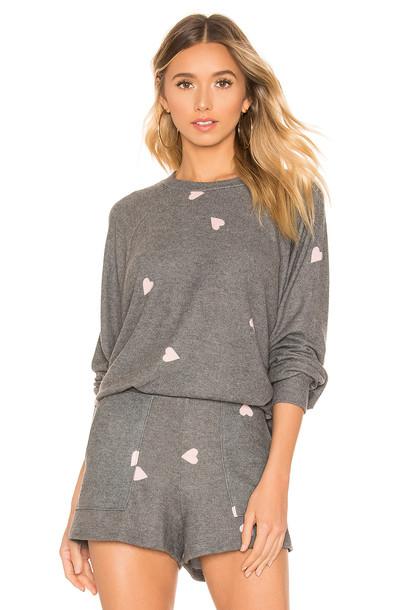 LNA Brushed Hearts Raglan Sweater in gray