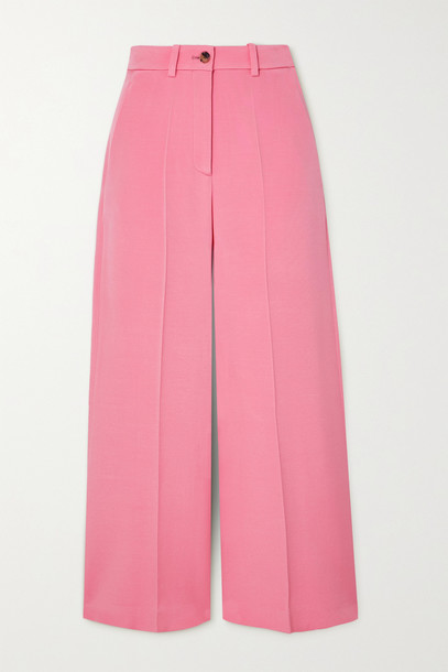 VALENTINO - Cropped Woven Wide-leg Pants - Pink