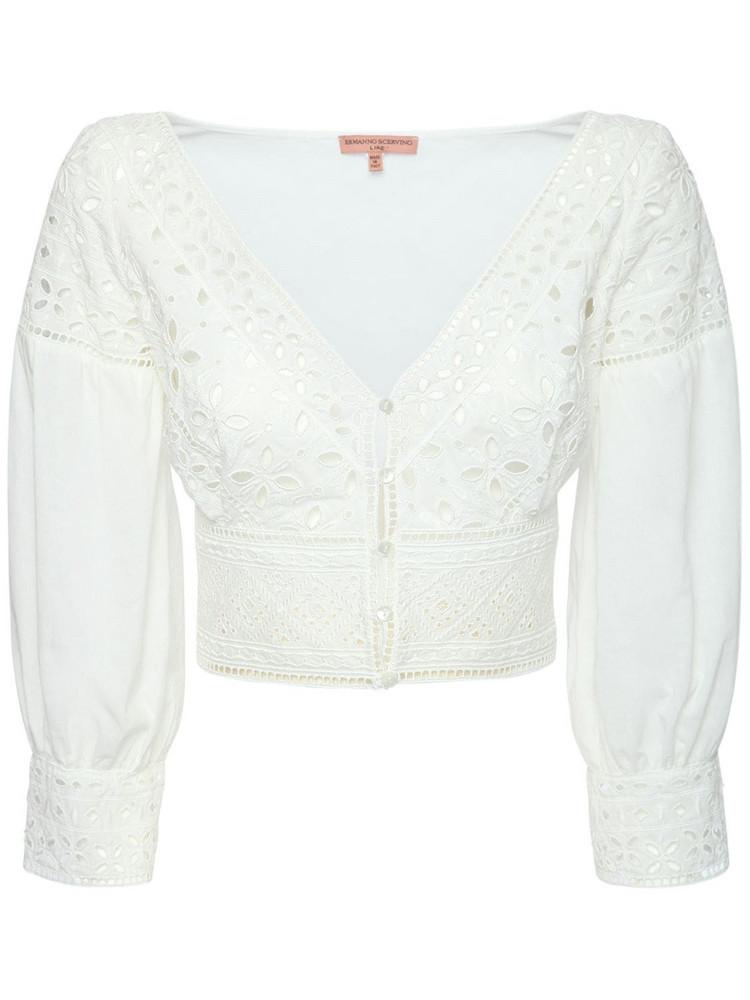 ERMANNO SCERVINO V Neck Cotton Cropped Top in white