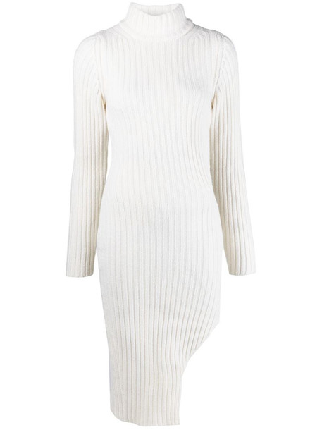 Wandering ribbed-knit side slit dress in neutrals