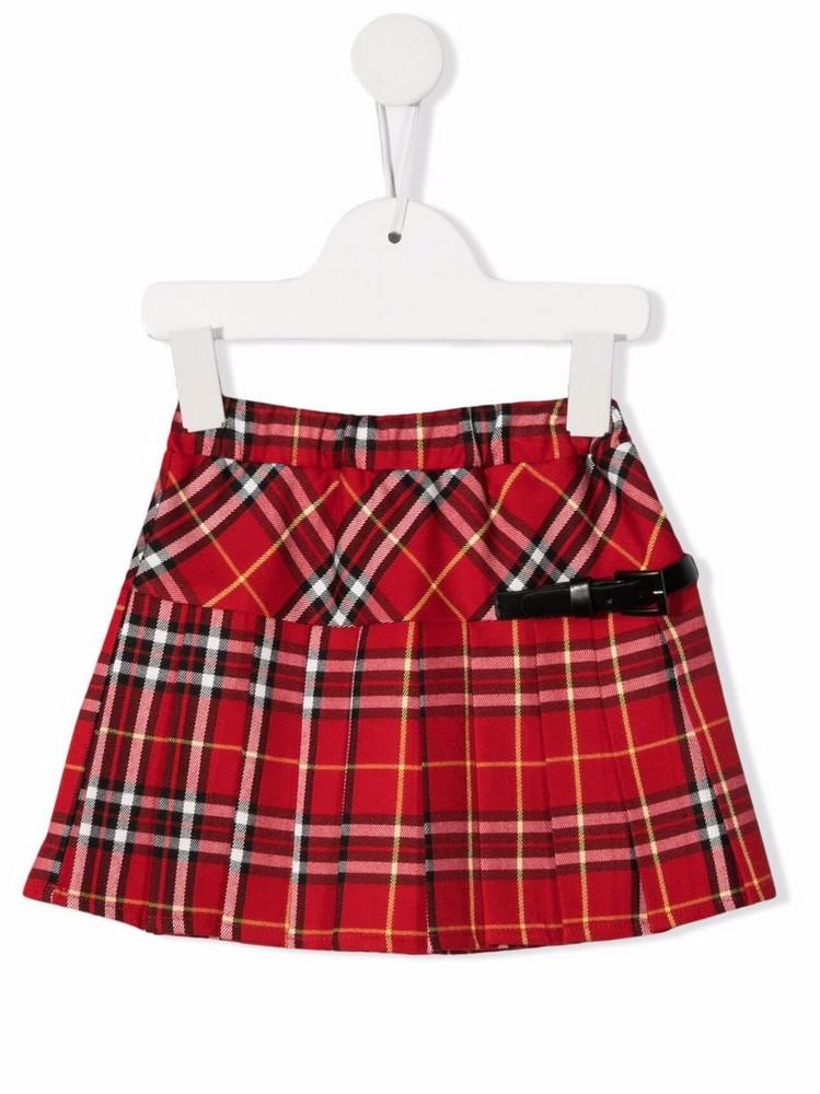Piccola Ludo tartan-print flared skirt in red