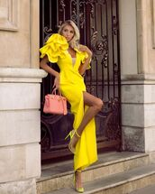 dress,maxi dress,slit dress,yellow dress,sandal heels,bag
