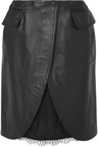 MM6 Maison Margiela - Satin And Lace-trimmed Leather Skirt - Black
