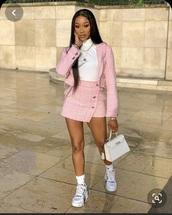 jacket,plaid,plaid skirt,knit,pattern,pink,white,skirt,classy