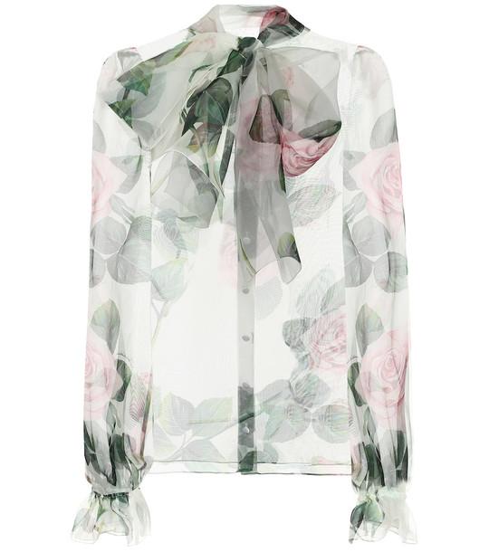 Dolce & Gabbana Floral silk-organza blouse in green