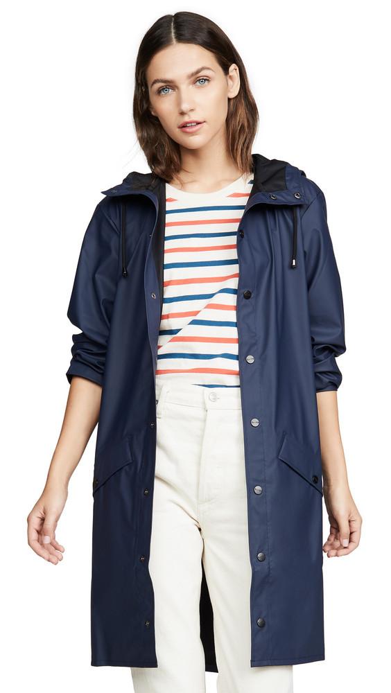 Rains Long Rain Jacket in blue