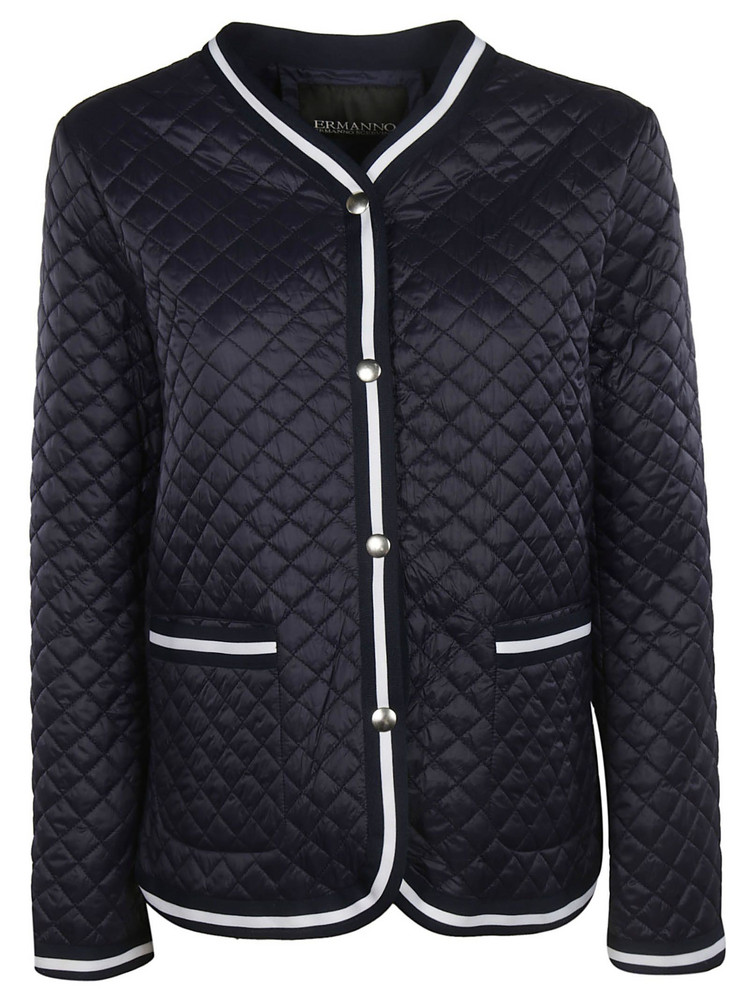 Ermanno Scervino Quilted Effect Buttoned Jacket in blue