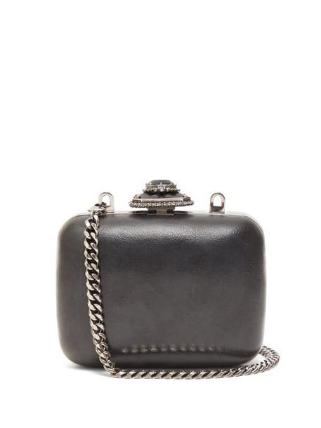 Alexander Mcqueen - Mini Crystal Embellished Leather Clutch Bag - Womens - Black