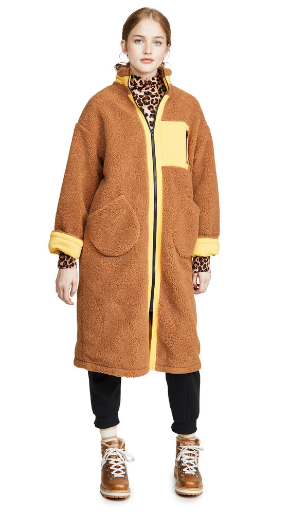 J.O.A. J.O.A. Zip Up Long Teddy Jacket in brown