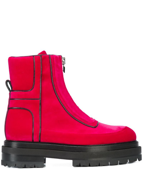Pierre Hardy stitch detailed platform sole ankle boots in pink