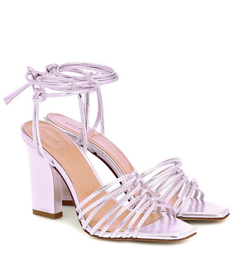 Aeydé Daisy metallic leather sandals in pink