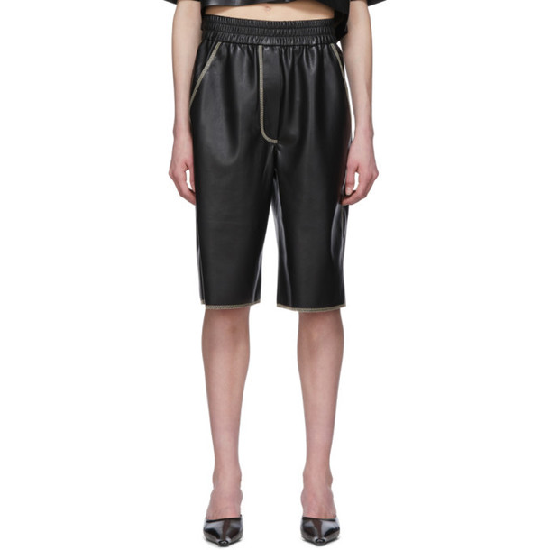 Nanushka Black Vegan Leather Yolie Long Shorts
