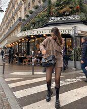 shorts,knitwear,cardigan,black boots,tight,black bag