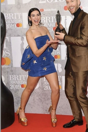 shoes,platform sandals,gold,dua lipa,mini dress,dress,stars,earrings,celebrity,red carpet outfit