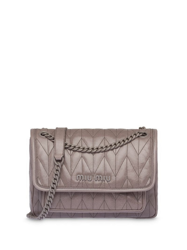 Miu Miu quilted shoulder bag in grey