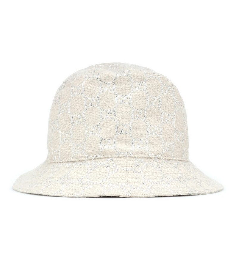 Gucci Lamé bucket hat in white
