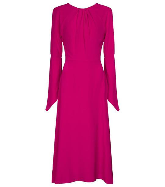 Victoria Beckham Open-back silk midi dress in pink