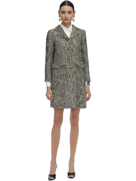 GUCCI Short Flamed Tweed Quilted Coat in grey