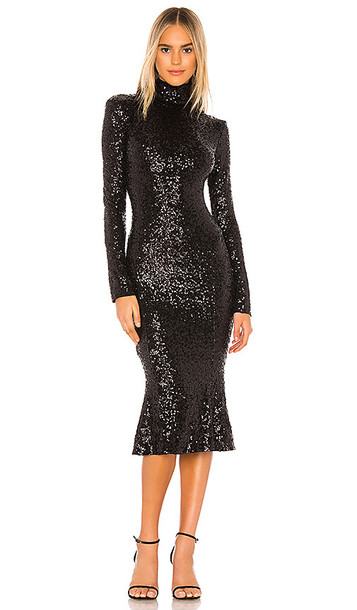 Norma Kamali Sequin Fishtail Dress in Black