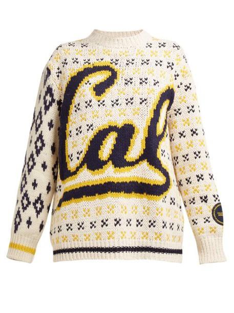 Calvin Klein 205w39nyc - Berkeley Logo Intarsia Wool Blend Sweater - Womens - Beige Multi