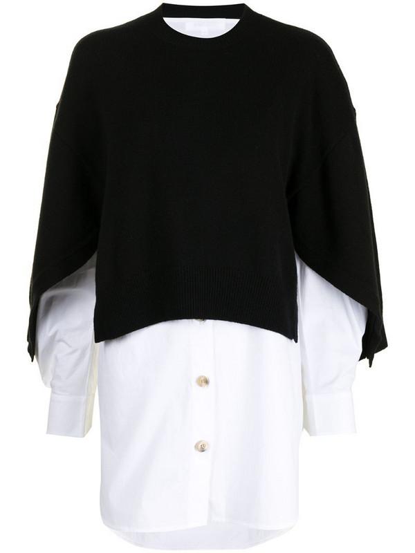 Enföld knit-overlay shirt in white