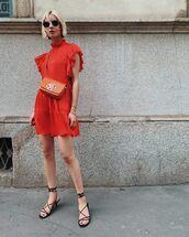 dress,red dress,mini dress,kate spade,black sandals,crossbody bag