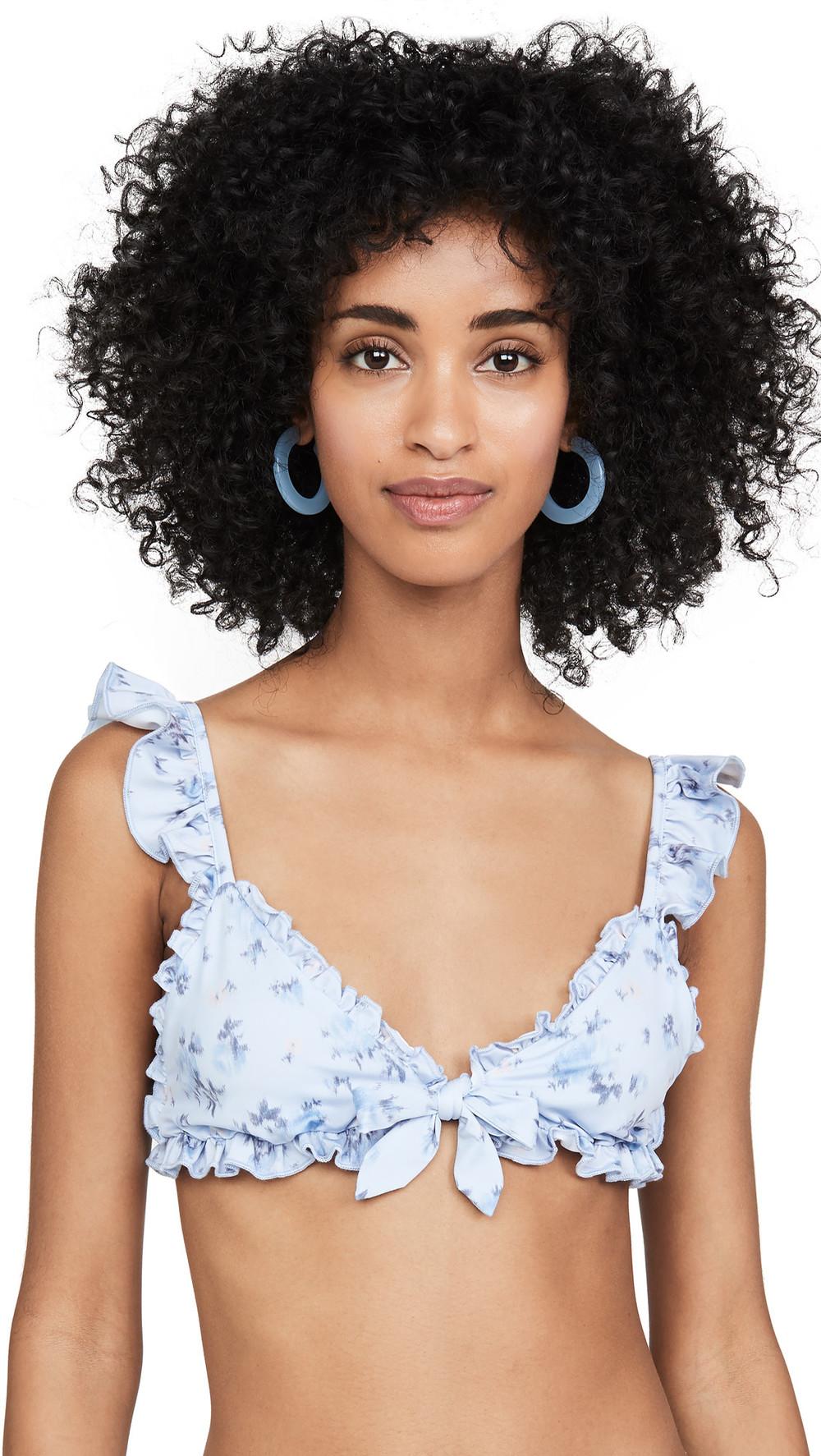 LOVESHACKFANCY Claudia Bikini Top in blue