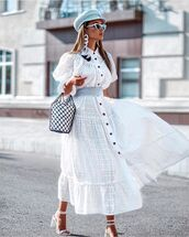 dress,white dress,lace dress,short sleeve dress,white sandals,bucket bag,beret