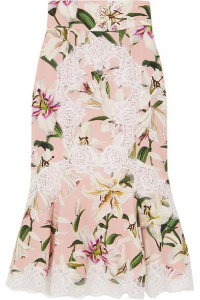 Dolce & Gabbana - Ruffled Lace-trimmed Floral-print Silk-blend Midi Skirt - Pink