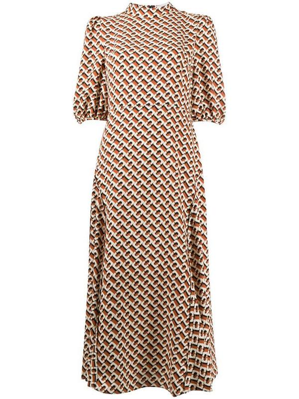 DVF Diane von Furstenberg Nella 3d Chain Caffe-print midi dress in brown