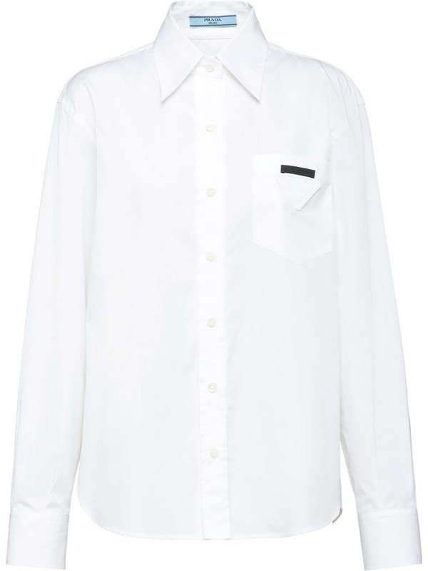 Prada logo-patch long-sleeve shirt in white