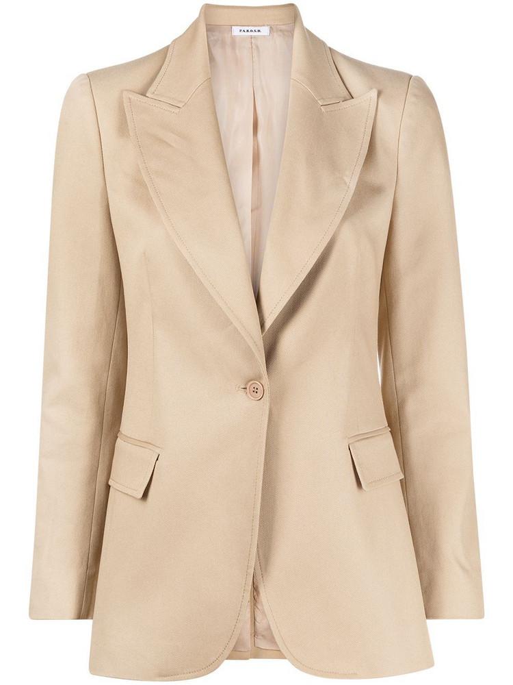 P.A.R.O.S.H. P.A.R.O.S.H. peak-lapel single-breasted blazer - Neutrals