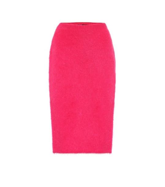 Versace Mohair-blend pencil skirt in pink