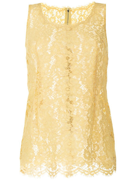 Dolce & Gabbana sleeveless lace top in yellow