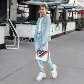 bag,crossbody bag,fendi,white sneakers,platform sneakers,denim jacket,high waisted jeans,ripped jeans,white t-shirt