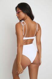 swimwear,two piece mafia,white bikini,high rise bikini bottom,ribbed bikini,retro bikini,high waisted bikini bottom