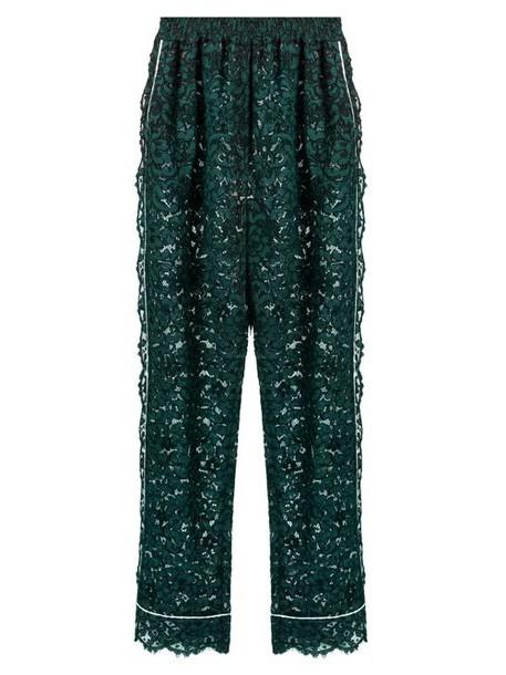 Dolce & Gabbana - High Rise Straight Leg Cordonetto Lace Trousers - Womens - Green