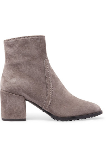 Tod's - Selleria Suede Ankle Boots - Gray