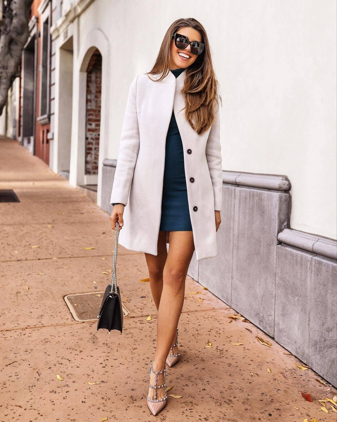 dress turtleneck dress mini dress pumps black bag white coat black sunglasses